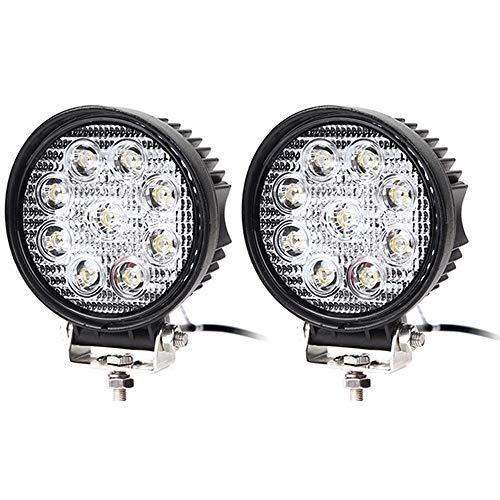 2X LED Scheinwerfer 27W Arbeitsscheinwerfer Arbeitslicht SUV Offroad IP67 2430 Lumen mit 9 LEDs Reflektor Rückfahrscheinwerfer ATV, UTV, Offroad, Traktor, LKW, Runde, 6000-6500K