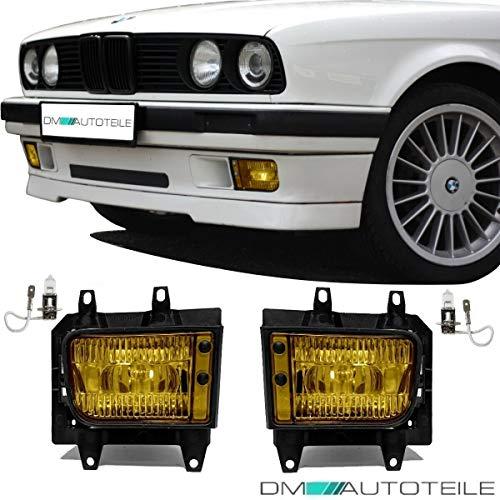 DM Autoteile Nebelscheinwerfer SET Gelb + H3 Birnen passend für E30 Facelift ab 1987
