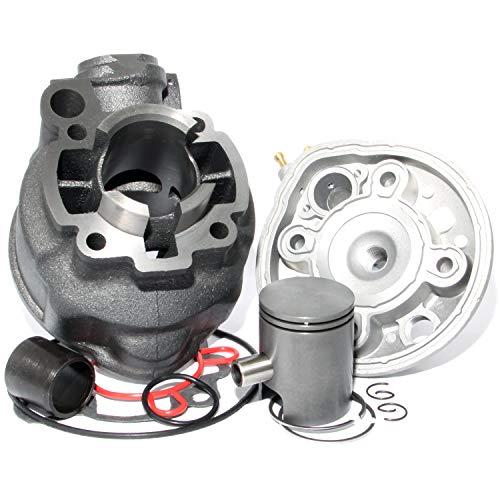 Easyboost Zylinder Kit 50 ccm für AM6 Grauguss alle Modelle mit Zylinderkopf Kolben Kolbenringe und Zündkerze Zylinder Minarelli MBK Xlimit Xpower Yamaha DT RS XP6 XPS Beta Rieju SMX RR TZR Sherco