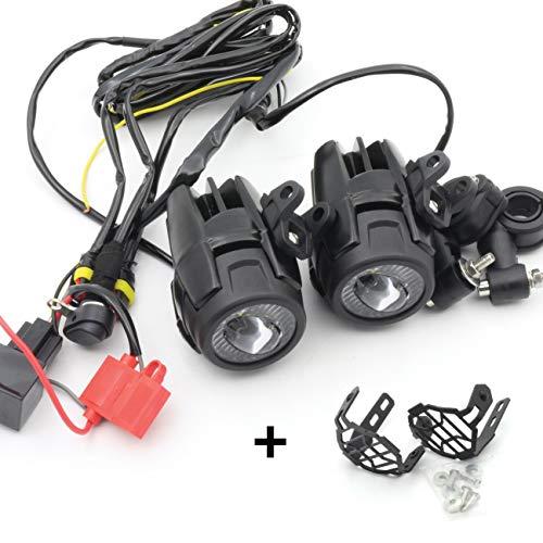 CPOWACE LED Nebelscheinwerfer Zusatzscheinwerfer + Kabelbaum + Schutzhülle für Motorrad R1200gs
