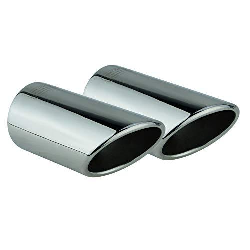L&P A288 2 Auspuffblenden Auspuffblende Chrom Edelstahl spiegel poliert kompatibel mit Golf 7 VII Variant Kombi Plug&Play Endrohrblenden Endrohrblende Auspuff Blende Endrohre