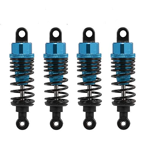 Hensych 4 Packung Einstellbares Öl 60mm 85mm 100mm Stoßdämpfer vorne und hinten aus Metall für 1/10 RC Auto LKW Teile Crawler Typ Axial SCX10 TRX4 D90 (Blau, 60mm)