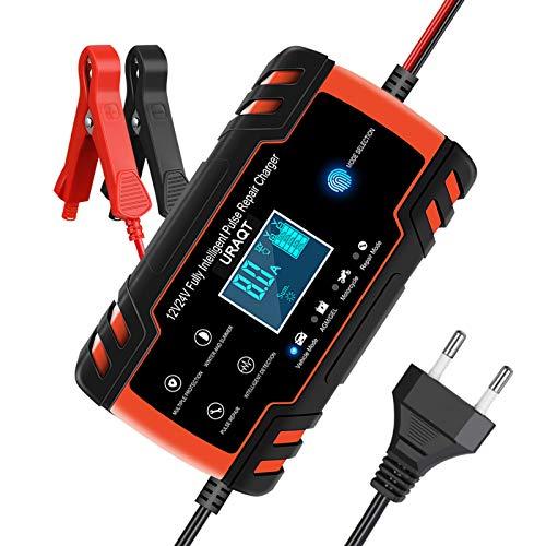 URAQT Ladegerät Batterie Auto, Autobatterie Ladegeräte 8A 12V/24V, Vollautomatisches Batterieladegerät KFZ mit LCD-Bildschirm Batterieladegerät, Erhaltungsladegerät mit Mehrfachschutz (#1)