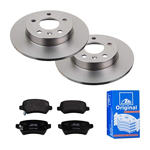 2 Bremsscheiben Voll 264 mm + Bremsbeläge Hinten von ATE (1420-21661) Bremsensatz Bremsanlage Bremsen-Kit,Bremsenset, Bremsscheiben, Bremsbeläge, Bremsen-Set, Beläge, Bremsbelag, Bremsbelagsatz,