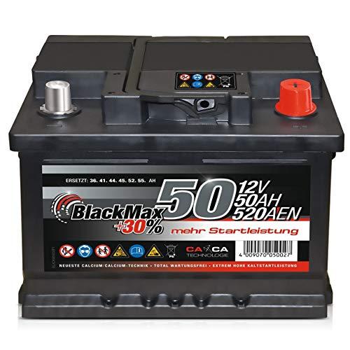 Autobatterie 12V 50Ah 450A/EN BlackMax Starter 30% mehr Leistung ersetzt 36Ah 41Ah 44Ah 45Ah