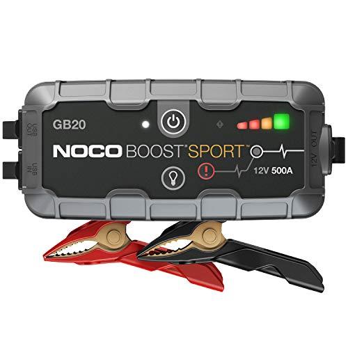 NOCO Boost Sport GB20 500A 12V UltraSafe Starthilfe Powerbank, Tragbare Auto Batterie Booster, Starthilfekabel und Überbrückungskabel für bis zu 4-Liter Benzinmotoren